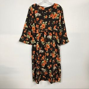 Oh! Mamma Maternity Notched Floral Midi Dress